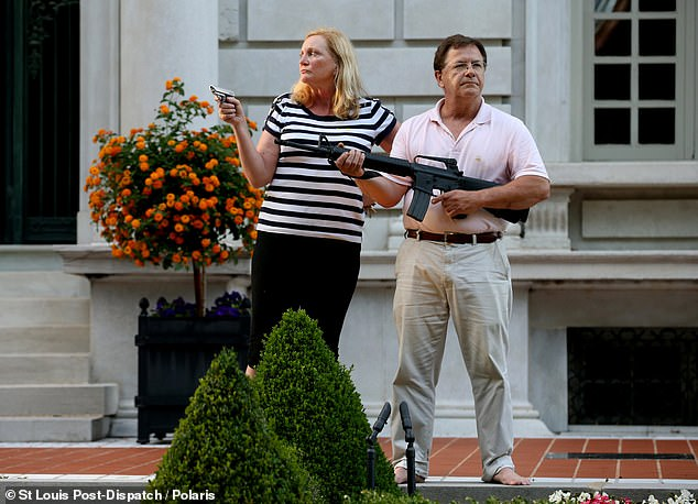 The McCloskeys became the target of national media attention in the summer after they emerged from their $1.15 million mansion, in Portland Place, with guns on the night of June 28 when a procession of protesters veered onto their private street