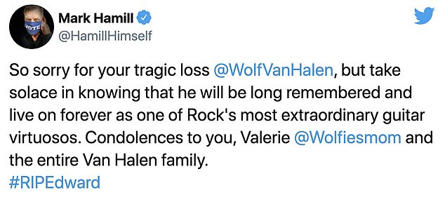 Spiritual: actor Mark Hamill paid tribute to Van Halen's family on sad day