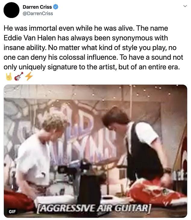 Cultural impact: Darren Criss highlighted Van Halen's huge impact on music