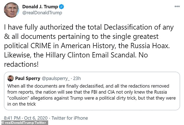 Trump tweeted on October 6 that he approved of declassification of documents