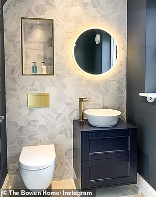 Modern touch: The couple recently revamped their cloakroom, giving it a more modern touch
