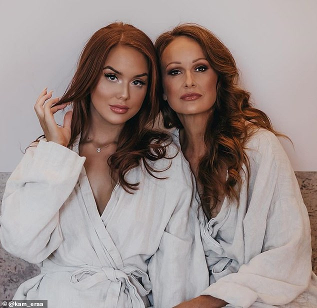 She works as a personal assistant to her daughter Lily (left), who has more than 500,000 followers on social media, and in a recent video the pair shared their favourite skincare products