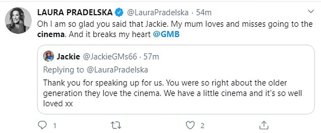 Many agreed with Laura, with one writing: 'Thank you for speaking up for us. You were so right about the older generation they love the cinema.'