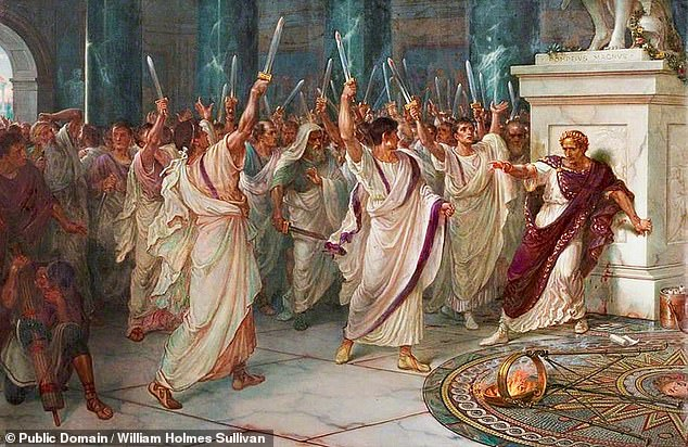 The minting of the coin has been described as a 'naked and shameless celebration' of Caesar's murder two years previously in 44 BC, as depicted. The assassination was prompted by concern among the senate that Caesar — having recently been named 'dictator in perpetuity' — would name himself king. Fear of this tyranny fostered a conspiracy of 60 senators who ended up stabbing the statesman 23 times, according to history's first recorded autopsy