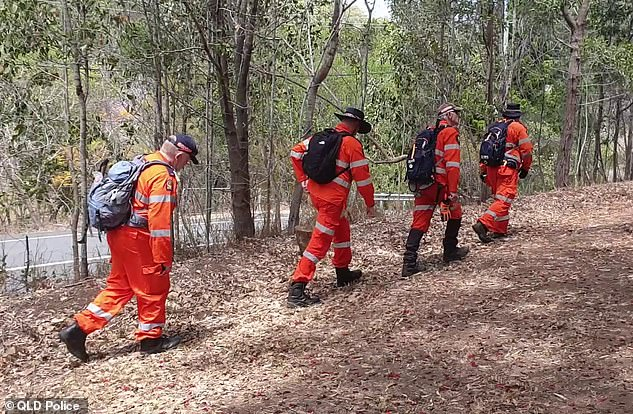 Police used drones, boats and all-terrain vehicles to search for Judge Andrew, and the Australian Defence Force was also called in to help (Rescue teams walk through bushland at Mount Coot-tha)