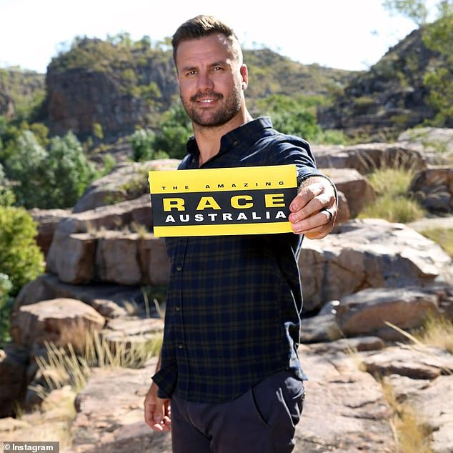 Back to work:The Amazing Race resumed filming in Queensland last week after Channel Ten shut down production over coronavirus fears. Pictured host Beau Ryan