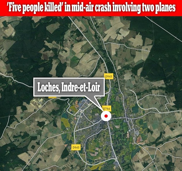 The collision took place around 4:30 p.m. local time in Loches (above), in the department of Indre-et-Loire in western France