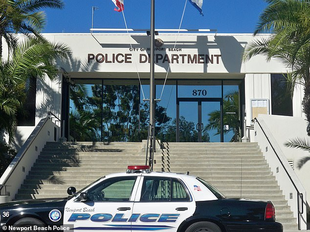 Authorities launched the investigation when a father told Newport Beach police (pictured) that his daughter engaged in inappropriate sexual conduct with Schenkel