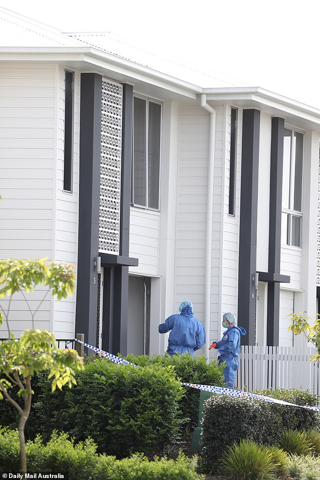 Forensic police gather evidence inside the Gold Coast home (pictured) near where Bowden was found dead on Monday
