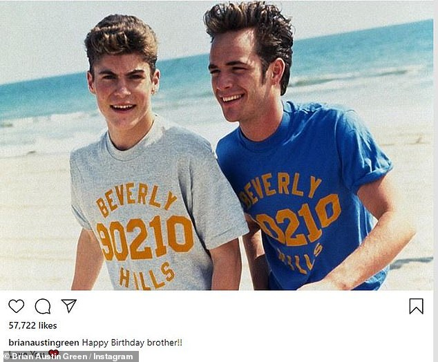 Flashback: Brian Austin Green selected a photo of himself with Perry by the beach at the time, captioned: 'Happy Birthday Brother !! I love you ❤️ '
