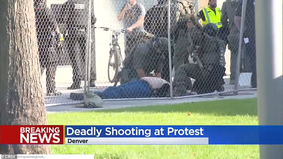 The victim, believed to be attending a Patriot Muster rally, was shot and killed following an argument with a security guard