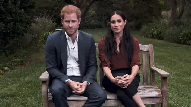 According to the author, the Duchess of Sussex told her public relations team that her ambition is to be the world's best-known celebrity, a mission that could only be achieved by being 'controversial'. Pictured, with Prince Harry during TIME 100 video