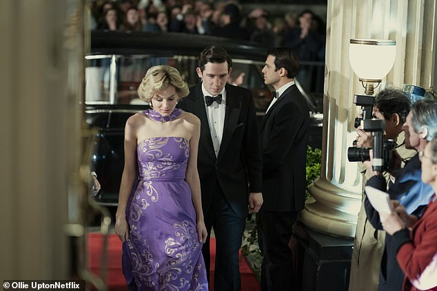 John O'Connor has told how he felt sympathy for both the late Princess Diana and Prince Charles when he read the script of the 4th season of the Crown. The actor, 30, who plays the Prince of Wales in the Netflix hit series on the royal family said he felt his character was trying to explain himself but was not allowed to (pictured: O'Connor as the Prince of Wales and Emma Corrin as Lady Diana in the Crown season 4)