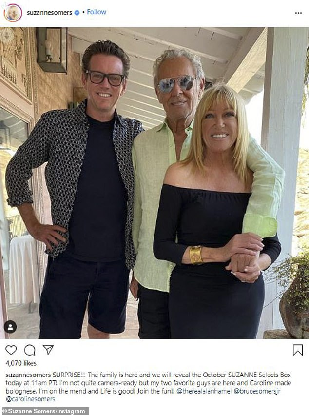 Better now: The actress was 'on the mend,' she said in an Instagram post from one week ago with husband Alan Hamel. Also in the image was Bruce Somers Jr
