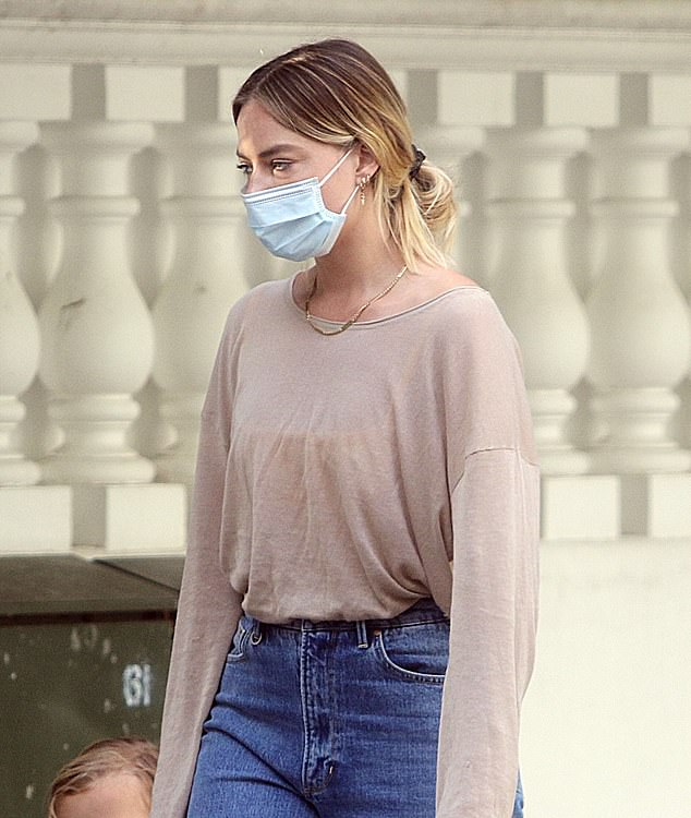 Missing home? Margot Robbie looked downcast as she went for a stroll in Chelsea, London over the weekend as her family remain on the Gold Coast amid the coronavirus pandemic