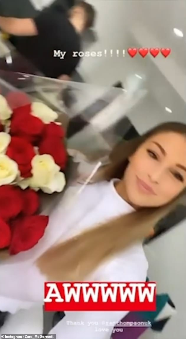 Generous: Zara uploaded a video of her admiring red and white roses from Sam