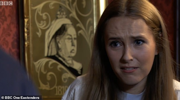 Upsetting:The shocking twist was revealed as Mick realised that the mysterious Frankie was his long-lost daughter, after fathering her with care worker Katy when he was just 12 years old