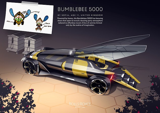 The UK winner of the Rolls-Royce Young Designer Competition was Sofia, 11, with her Bumblebee 5000