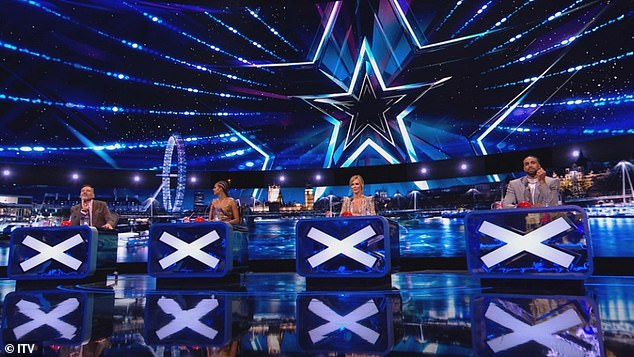 On Hold: Britain's Got Talent was forced to stop filming its Christmas special after a COVID-19 outbreak on set (judges pictured during the semi-final filming in August)