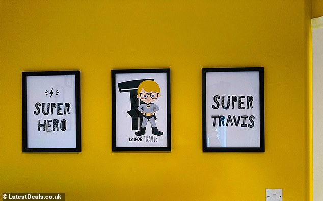 The thrifty mother-of-one said she and Travis painted his yellow feature wall together, and she printed out his artwork at home