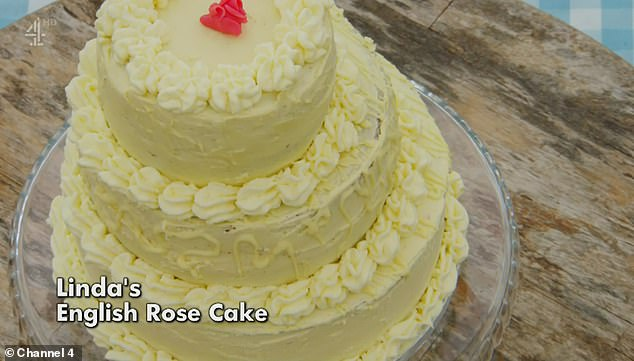 Regards: The competitor made a three-tiered white chocolate sponge cake with amaretto, raspberry jam and mascarpone cream. It was decorated with a pink chocolate rose as a tribute to his late daughter Melissa