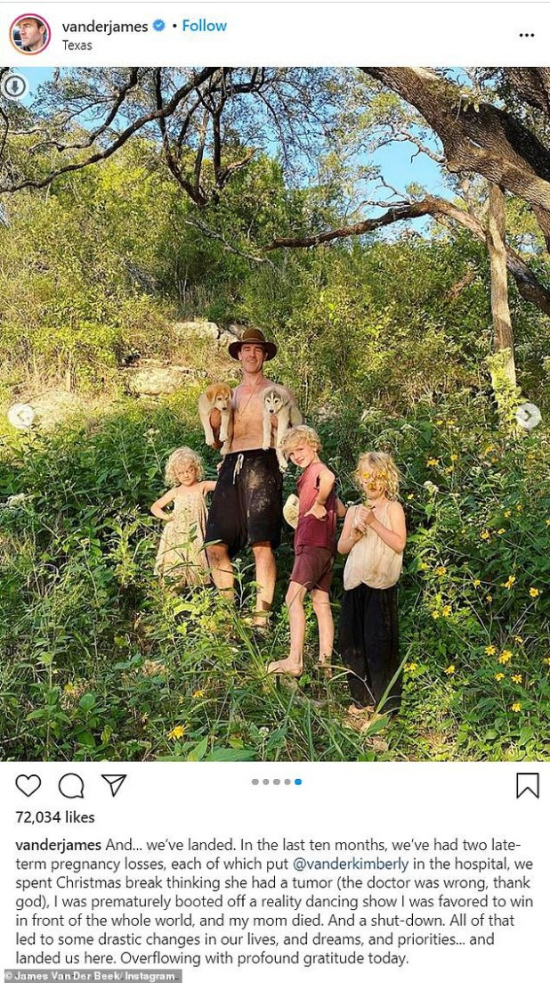 Recent: James van der Beek, 43, cited health events in his family, his mother's death and the ongoing epidemic as reasons why he and his family moved to Texas last month.  He posed with his children in a shot of his new residence