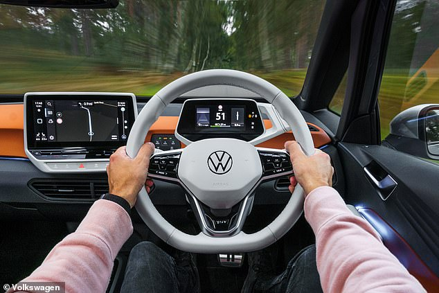 Inside, the ID.3 has a 10-inch touch screen, keyless start and the ID.Light interior system that alerts the driver and passenger if there are any immediate risks