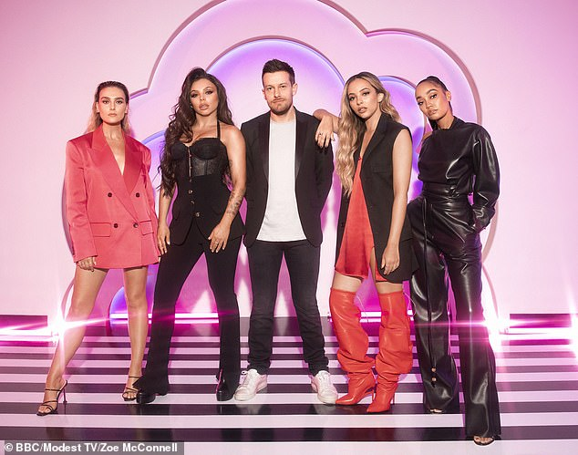 On hold: Little Mix: The Search has been postponed in a last minute schedule shake-up, it was announced on Saturday (Little Mix pictured with host Chris Ramsay)