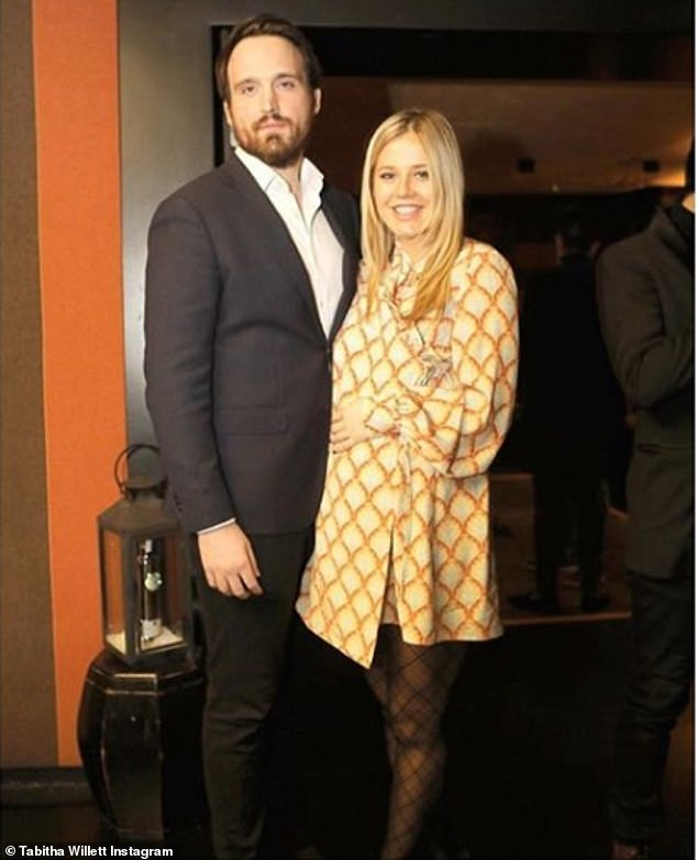 Expecting: Their delayed wedding date also meant that their 14-month-old daughter Ottilie would have been able to walk down the aisle with them (pictured in February 2019)