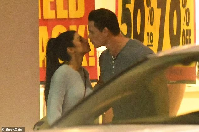 Serious: Cena and Shariatzadeh apparently got serious pretty quickly in their relationship as they are often seen kissing in public