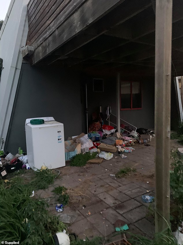 Rubbish left at the property of Chris Taranto by Rebecca Kelly