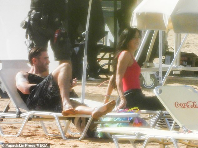 Chilled:Oliver, 33, cut an equally low-key appearance as he donned a black sleeveless top and dark shorts
