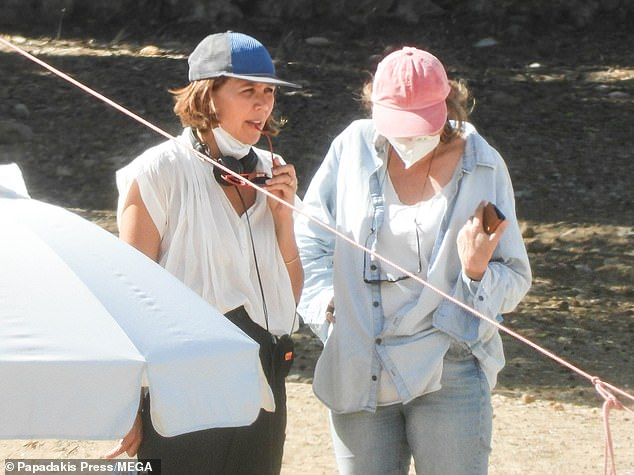 She's in charge: The actress, 42, was every inch the busy director as she instructed cast and crew throughout the day
