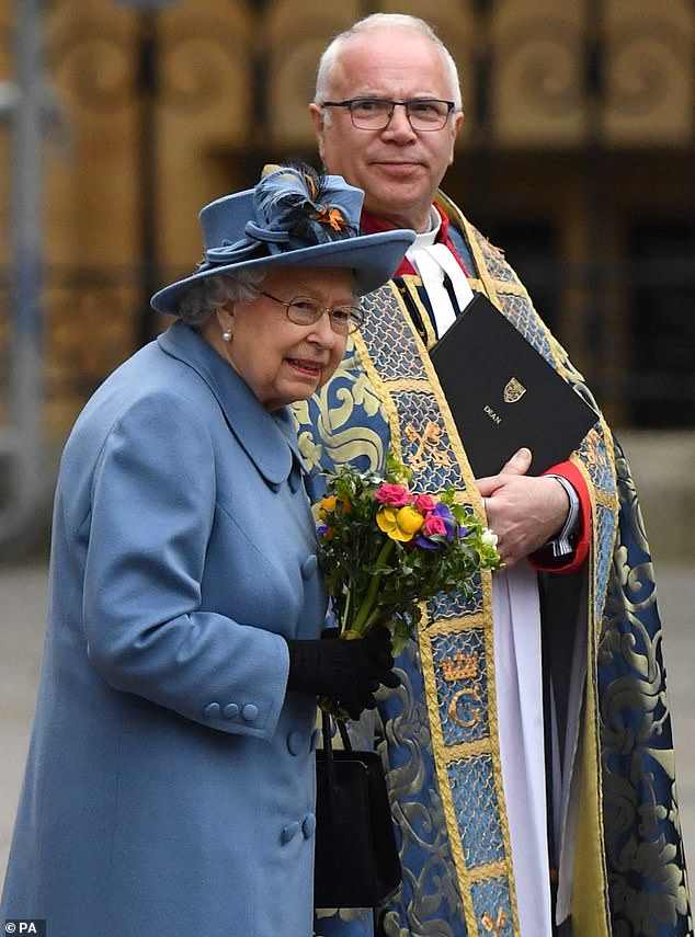 The Queen was last at an official public engagement outside of a royal residence when she joined the royal family for the Commonwealth Day service at Westminster Abbey on March 9, pictured