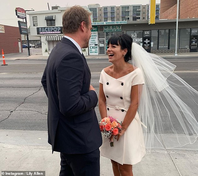 Smitten: The brunette has been on cloud nine ever since she tied the knot to actor David, 45, in Las Vegas last month