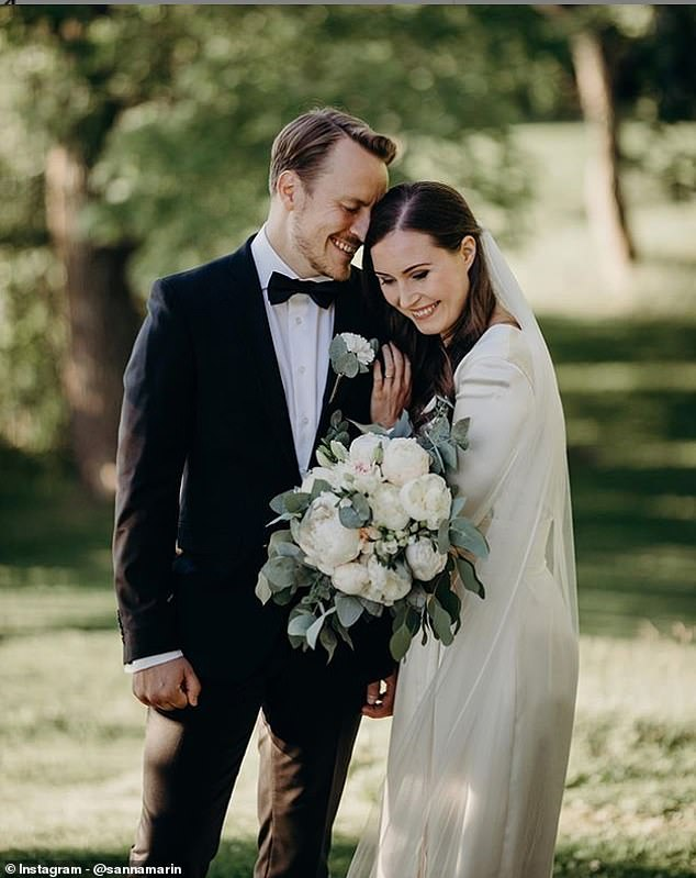 Their wedding was at Kesäranta, Ms Marin's official residence, and attended by 40 guests made up of close friends and family