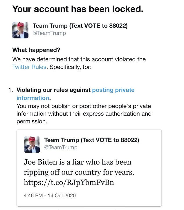 The Team Trump Twitter was locked for posting the New York Post story about Joe and Hunter Biden 19 days before the election