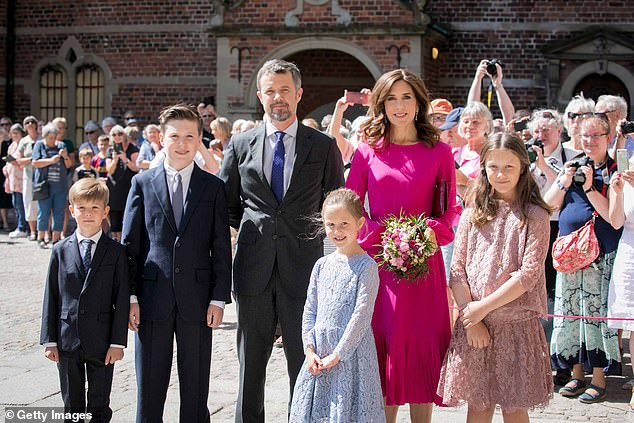 Prince Frederik pictured with his family in Hillerod in May 2018. from left: Prince Vincent, now nine, Christian, now 15, Frederik, now 52, Princess Josephine, nine, Princess Mary, 48 and Princess Isabella, now 13