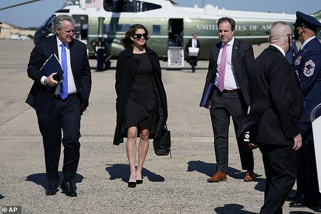 Counselor to the President Hope Hicks, along with White House chief of staff Mark Meadows, boards Air Force One on Thursday for a two-day trip with President Trump