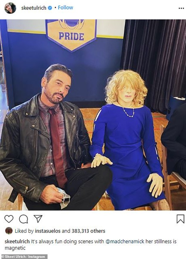 Laughter: Last week, Skeet joked about his co-star Madchen Amick while sitting next to a mannequin on set