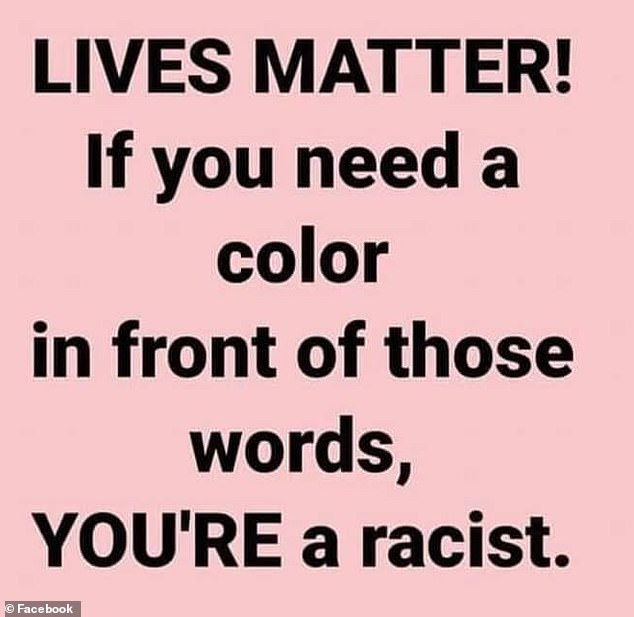 Brisette has changed his Facebook profile picture to feature a statement which reads: ', 'Lives matter! If you need a color in from of those words, YOU'RE a racist'