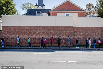 VIRGINIA:Fairfax County residents wait in line at the Franconia Government Center to cast their ballot early ahead of the November 3 general election