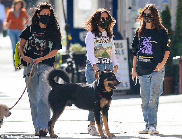 Wear a mask: She finished the ensemble with a pair of black wayfarer sunglasses, a leopard-print face mask and black leather handbag with a bronze handle
