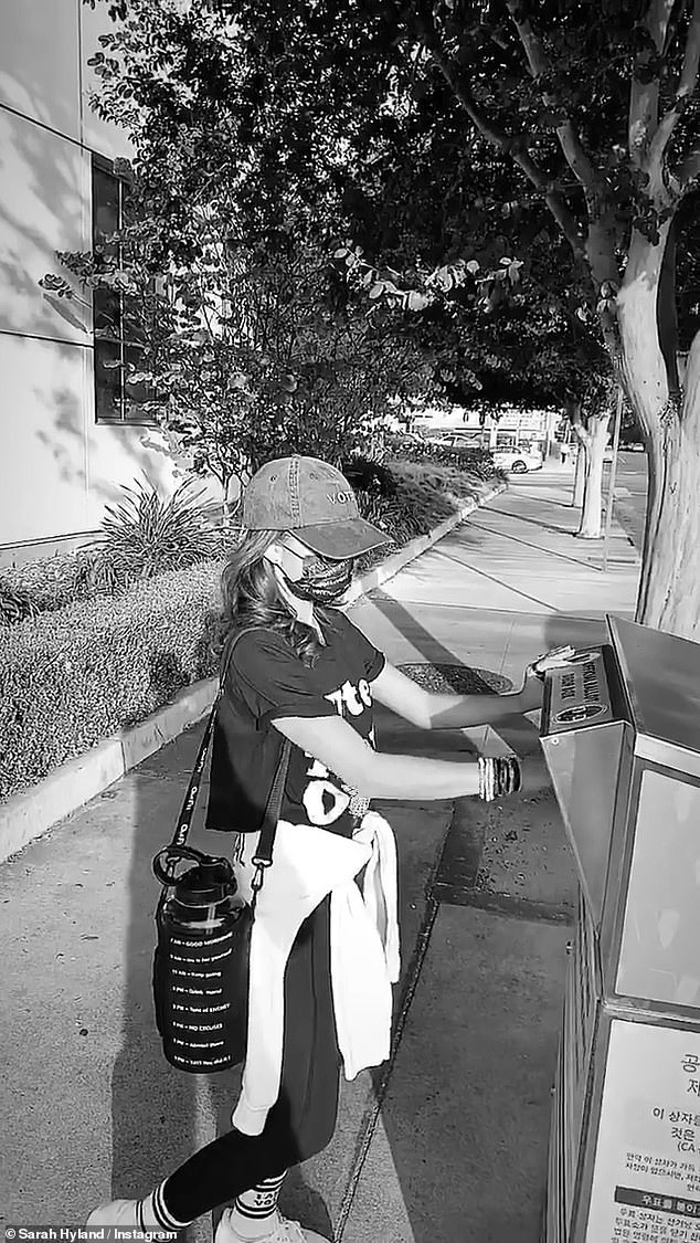 Vote 2020! Sarah Hyland shared a black-and-white of herself dropping off her ballot at one of California's many drop-off boxes