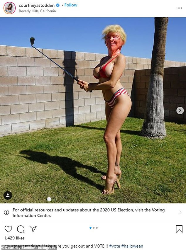 'Get out and VOTE!' Courtney Stodden urged fans to vote wearing a Donald Trump mask and patriotic bikini