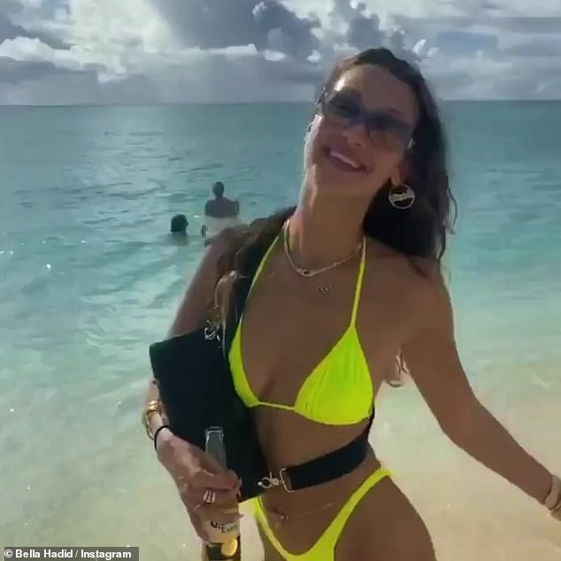Beach babe:Bella is back in New York after celebrating her 24th birthday on the beach, but clearly wasn't done re-living the memories on Thursday