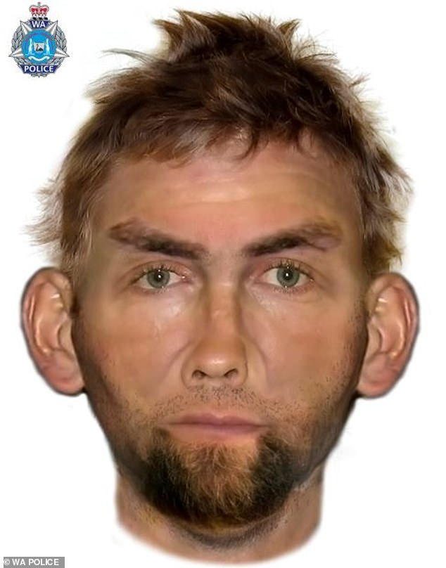Police wish to speak to a man (pictured) who may be able to assist them in a robbery investigation after a woman was bashed and tied up in her Wannanup, WA, home on October 7
