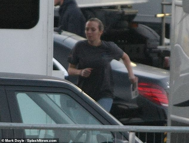 Fun: Jodie cut a casual figure as she headed onto the set at Ardmore Studios in Bray, before showing off her dance moves with the crew