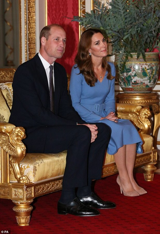 The Duke and Duchess of Cambridge during an audience with the President of Ukraine, Voldemire Zelensky and his wife Olena at Buckingham Palace in London on October 7, 2020.