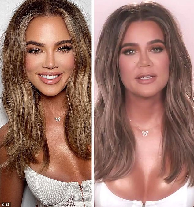 She was raked over the coals for this: On the left she was seen on social media with what looked like tons of Photoshop and on the right was the real look
